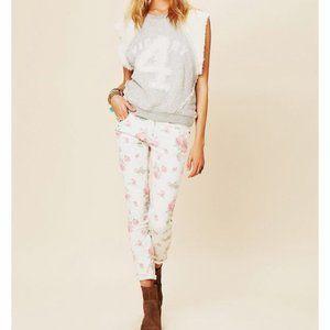 Free People Floral Rose Print Skinny Jeans